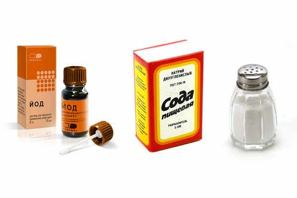 Соль, сода и йод для полоскания горла